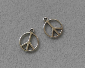 Silver Peace Sign Charms