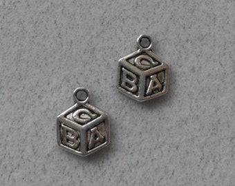 Silver Baby ABC Block Charms