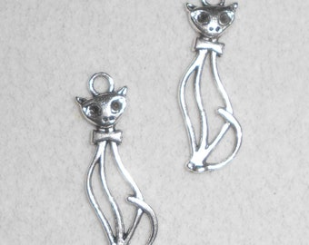 Silver Sitting Cat Charms