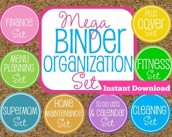 INSTANT DOWNLOAD Home Binder Mega Kit- Family Binder Organization Set-8 Sets Included-Instant Download