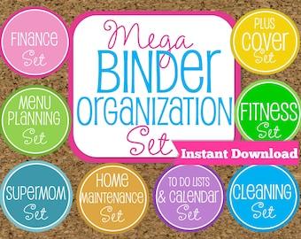 INSTANT DOWNLOAD Home Binder Mega Kit- Family Binder Organization Set-8 Sets Included-Instant Download