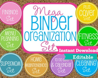 EDITABLE and INSTANT DOWNLOAD Home Binder Mega Kit- Family Binder Organization Set-8 Sets Included-Instant Download