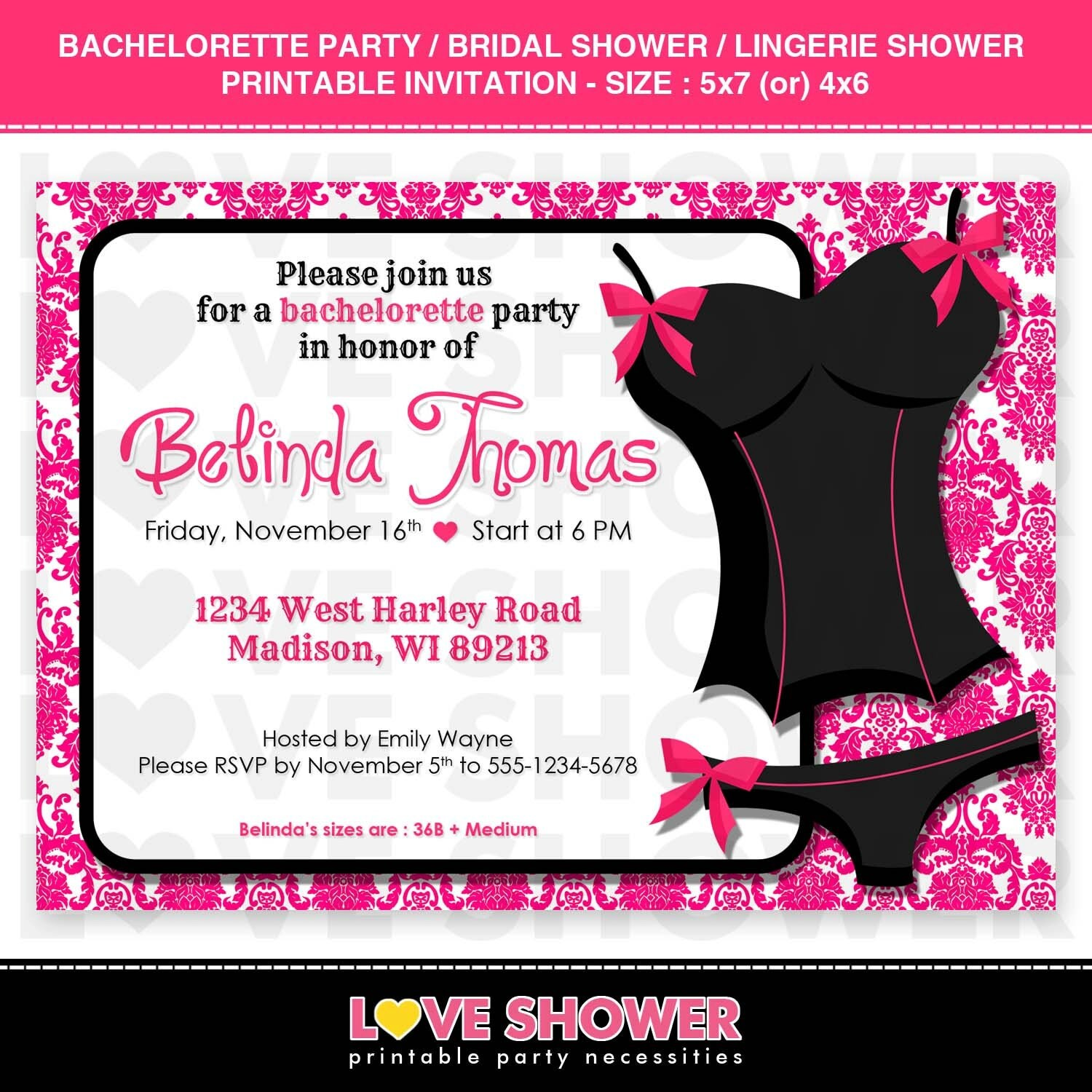 Bachelorette Party Bridal Shower Lingerie Shower Invitation – Bridal Shower and Bachelorette Party Invitations