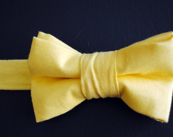 Bow Tie for Newborn, Infant, Toddler, Boy - Solid Bright Yellow