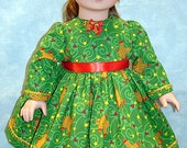 18 Inch Doll Clothes - Gingerbread Men on Green Christmas Dress for 18 inch dolls