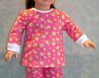 Hot Pink with Daisies Pajamas made to fit 18 inch dolls