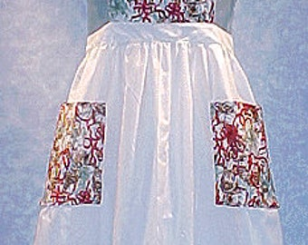 Christmas Cats in the Ribbon Bib with Gathered Waist Apron Misses