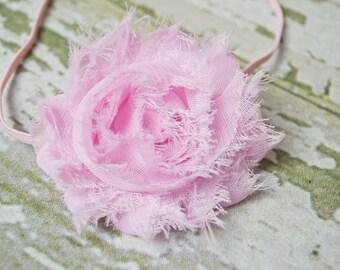 Light Pink Shabby Chic Flower on a Matching Skinny Elastic Headband, Newborn Headband, Infant Headband, Newborn Photo Prop, Many Colors