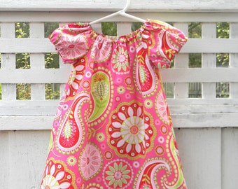 Peasant Toddler Dress Pink Red and Green Paisley Little Girls Dress Summer Dress
