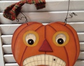 Handmade Primitive Jack Pumpkin Door Decoration