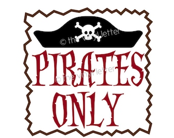 Pirates Only Vinyl Wall Decal Pirate Bedroom Decor Sticker