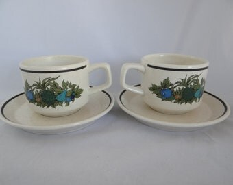 Vintage American Lenox Fall Bounty Temperware Stoneware Teacup and Saucer American Tea Cup- 2 available