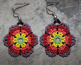 Huichol Peyote Beaded Earrings I-1