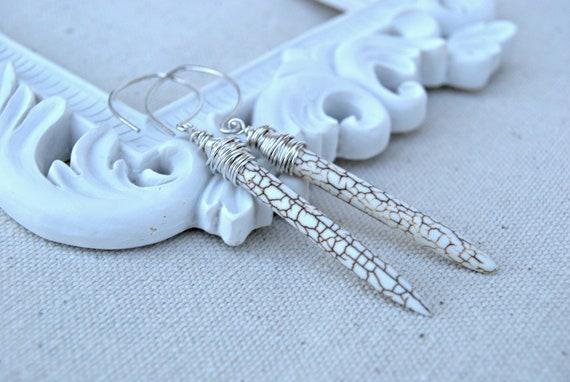 rapier... cream howlite spike & sterling silver earrings / gifts under 30 / for her