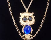 Royal Blue Jelly belly Owl statement necklace