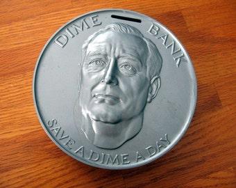 SALE 1960s Molded Plastic Dime Franklin Roosevelt Bank