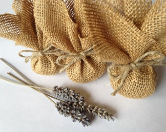 Lavender Sachets wrapped in Rustic Burlap - Wedding Favors - Wedding Decor - Eco Friendly - Home Decor (Set of 3)