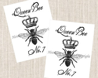 Queen Bee Notecards Bee - Set of 10 Cards & Envelopes - Vintage Queen Bee Notecards
