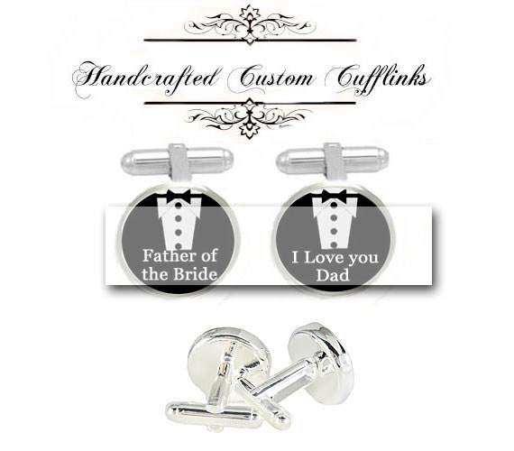 father of bride groom tuxedo shirt love dad men Cufflinks groomsmen custom Wedding Anniversary birthday husband fiancée gift cuff links