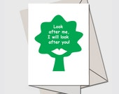 BLANK CARD , GREEN Environmental Graphic of a  green tree. A Nice Visuals humorous card for all occasions.