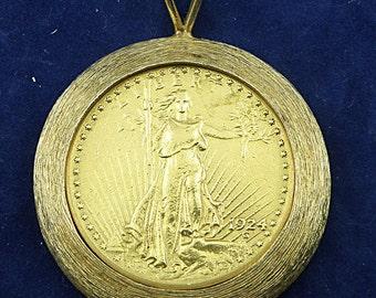 1924 Saint Gaudens Double Eagles Gold Coin Pendant-Heavy Unique 14K Yellow Gold Bezel, 46g, SKU P-1129