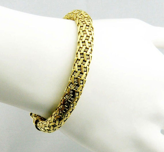 Made In Italy Intricate Woven Design Bold Bracelet Bangle
