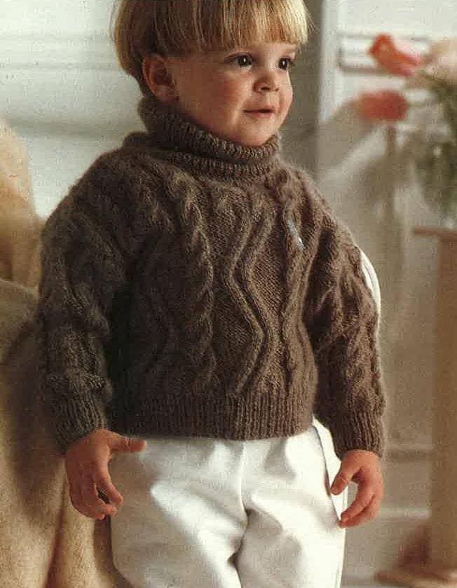 Knitting Pattern Roll Neck Jumper : Knitting Pattern Childrens Jumper Polo Neck Roll Neck