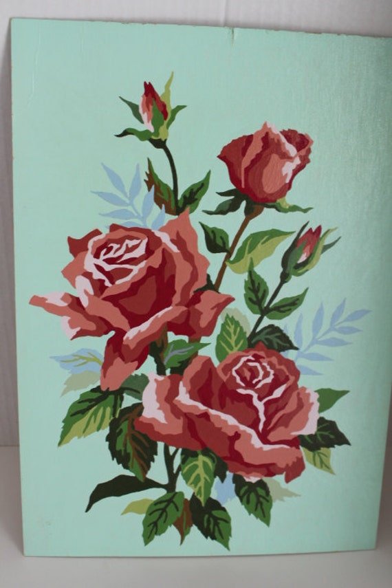 Vintage Paint by Number Oil Painting Red Roses Aqua Back