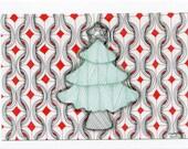 Christmas Tree Zentangle Inspired Christmas Card
