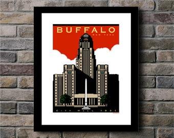 Buffalo City Hall Circa 1931 Digital Print - 8x10.