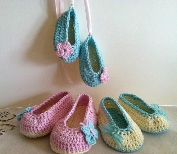 Ballet Slippers, Baby Crochet Pattern PDF 12-062 INSTANT DOWNLOAD