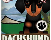 Dachshund Wilderness Dogs Original Art Print - Personalized Dog Breed Art -11x14- Customize with Your Dog's Name - Dogs Incorporated