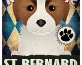 St Bernard Pampered Pups Original Art Print - 11x14 - Dog Poster - Dogs Incorporated