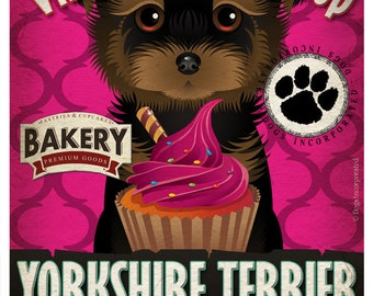 Yorkie Cupcake Company Original Art Print - Custom Dog Breed Art - 11x14 - Personalize with Your Dog's Name - Dogs Incorporated