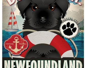Newfoundland Sailing Company Original Art Print -11x14- Customize with Your Dog's Name
