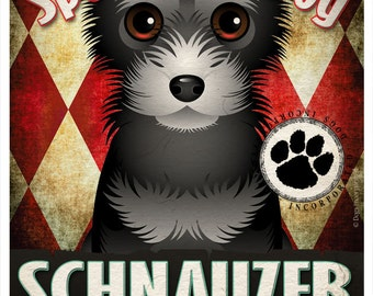 Schnauzer Pampered Pups Original Art Print - 11x14 - Dog Poster - Dogs Incorporated