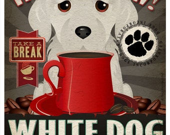 White Dog Coffee Bean Company Original Art Print  - White Mixed Breed Art -11x14-Customize with Name