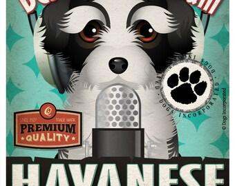 Havanese Recording Studio Original Art Print - Custom Dog Breed Print - 11x14 - Personalize with Your Dog's Name
