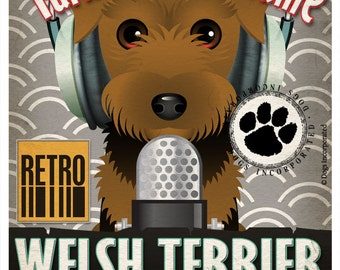 Welsh Terrier Studio Original Art Print - Custom Dog Breed Print - 11x14 - Personalize with Your Dog's Name