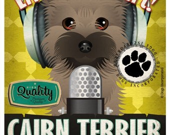 Cairn Terrier Recording Studio Original Art Print - Custom Dog Breed Print - 11x14 - Personalize with Your Dog's Name