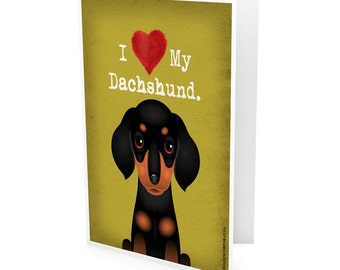 I Love My Dachshund Company Greeting Card - I Heart My Dog Note Cards (pack of 6) - includes  6 Color-Coordinated Envelopes