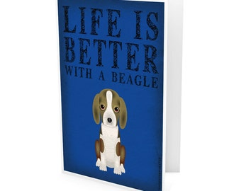 Beagle Greeting Cards - Life Is Better with a Dog - Note Cards (pack of 6) - includes  6 Color-Coordinated Envelopes