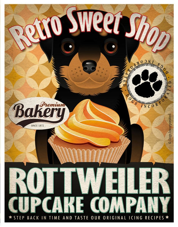 Rottweiler Cupcake Company Original Art Print - Custom Dog Breed Art - 11x14 - Personalize with Your Dog's Name - Dogs Incorporated