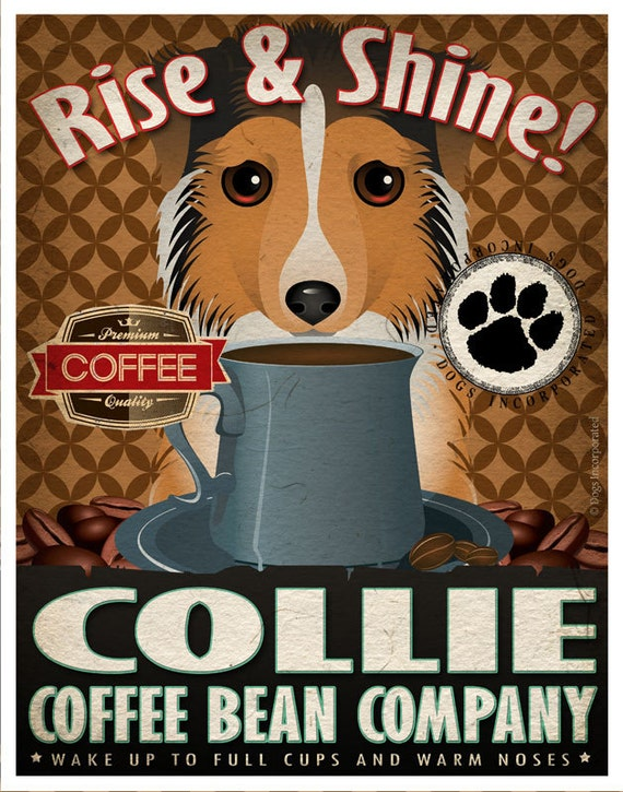 Collie Coffee Bean Company Original Art Print - 11x14- Personalize with Your Dog's Name