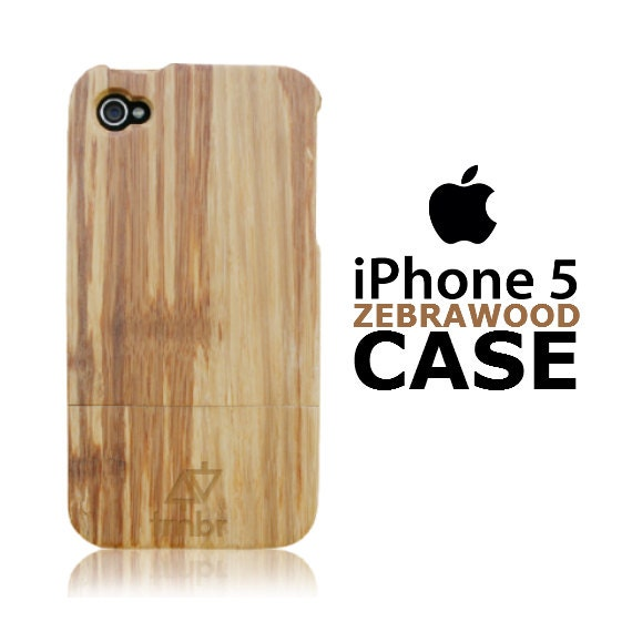 Iphone 5 Case Wood Pre-Order Handmade Quality Carbonized Zebra Wood Cover FREE SHIPPING in the US