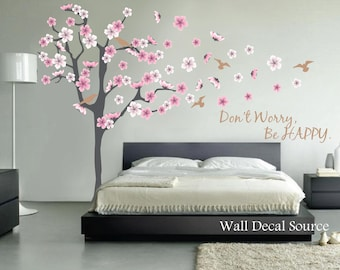 Blossom Wall Decal - Cherry Blossom Wall Decal - Vinyl Floral Tree