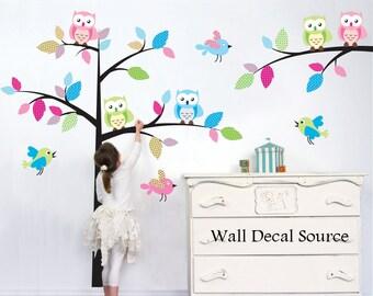 Nursery Wall Decal - Bird Tree Wall Decal - Owl Nursery Tree