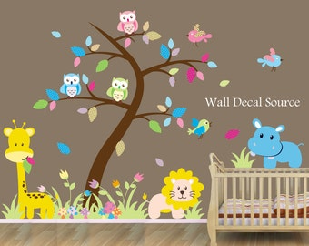 Jungle Nursery Wall Decals, Tree Wall Decal, Large Nursery Wall Decal, Owl Wall Decals, Monkey Wall Decals, Jungle Wall, Giraffe Wall Decal