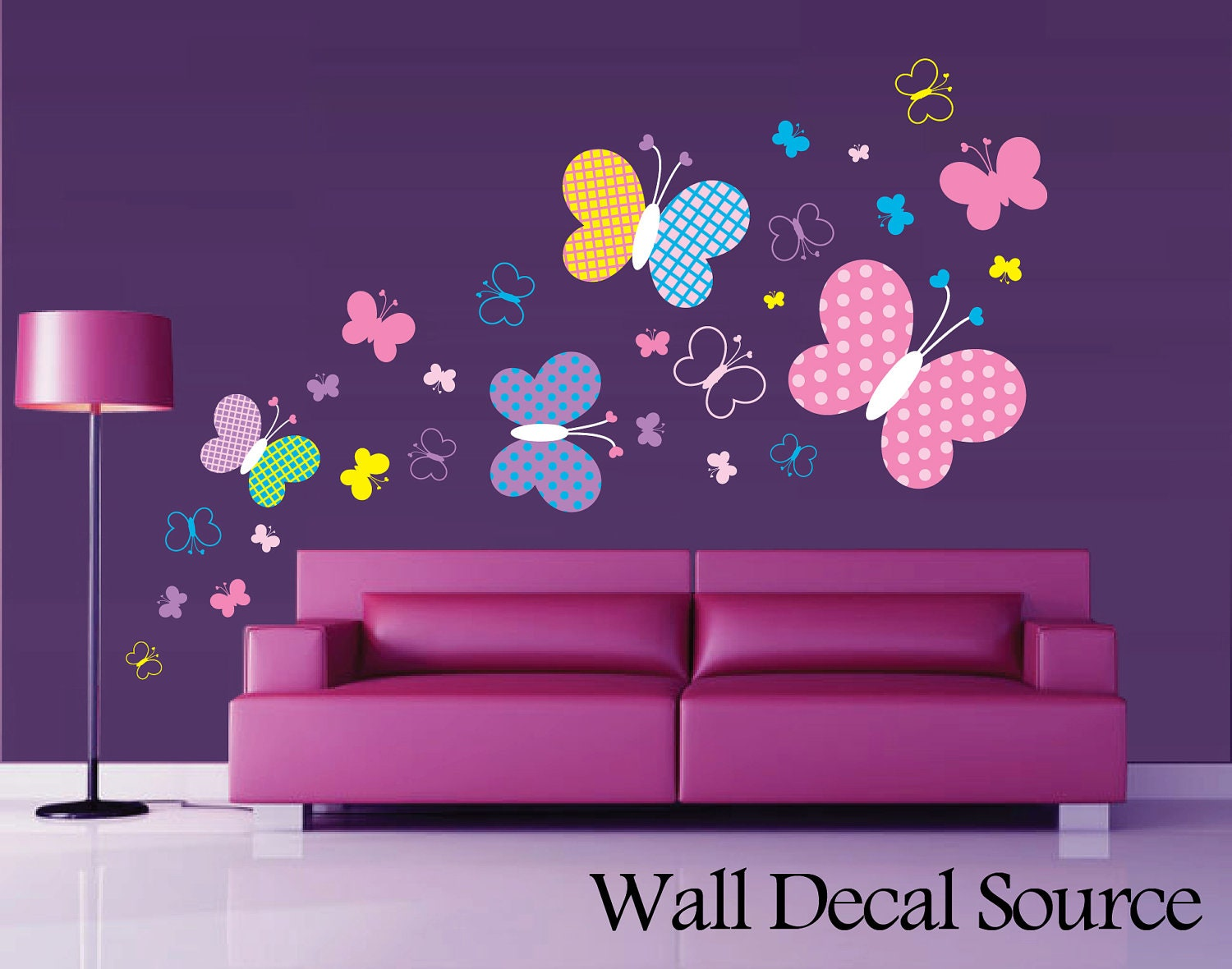 Patterned butterfly wall decal vinyl butterfly wall decor for Butterfly design on wall