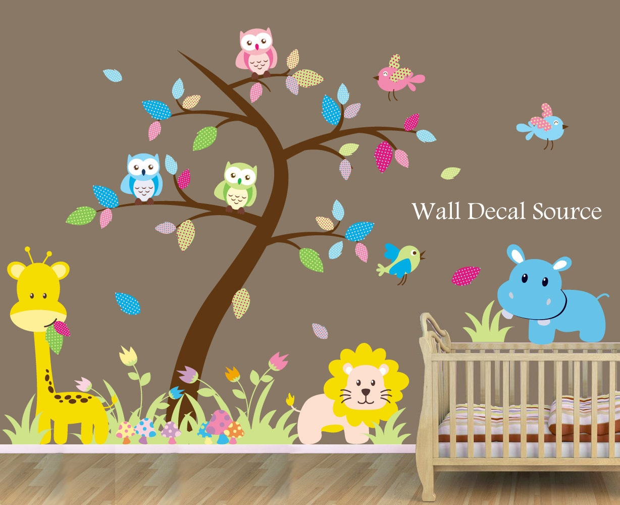 Jungle nursery wall decals tree wall decal large nursery for Nice safari wall decals for nursery